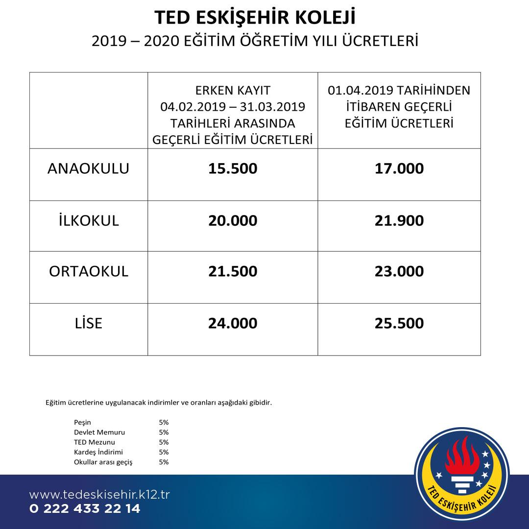 2019-2020 Eğitim Öğretim Yılı Fiyat Tablosu